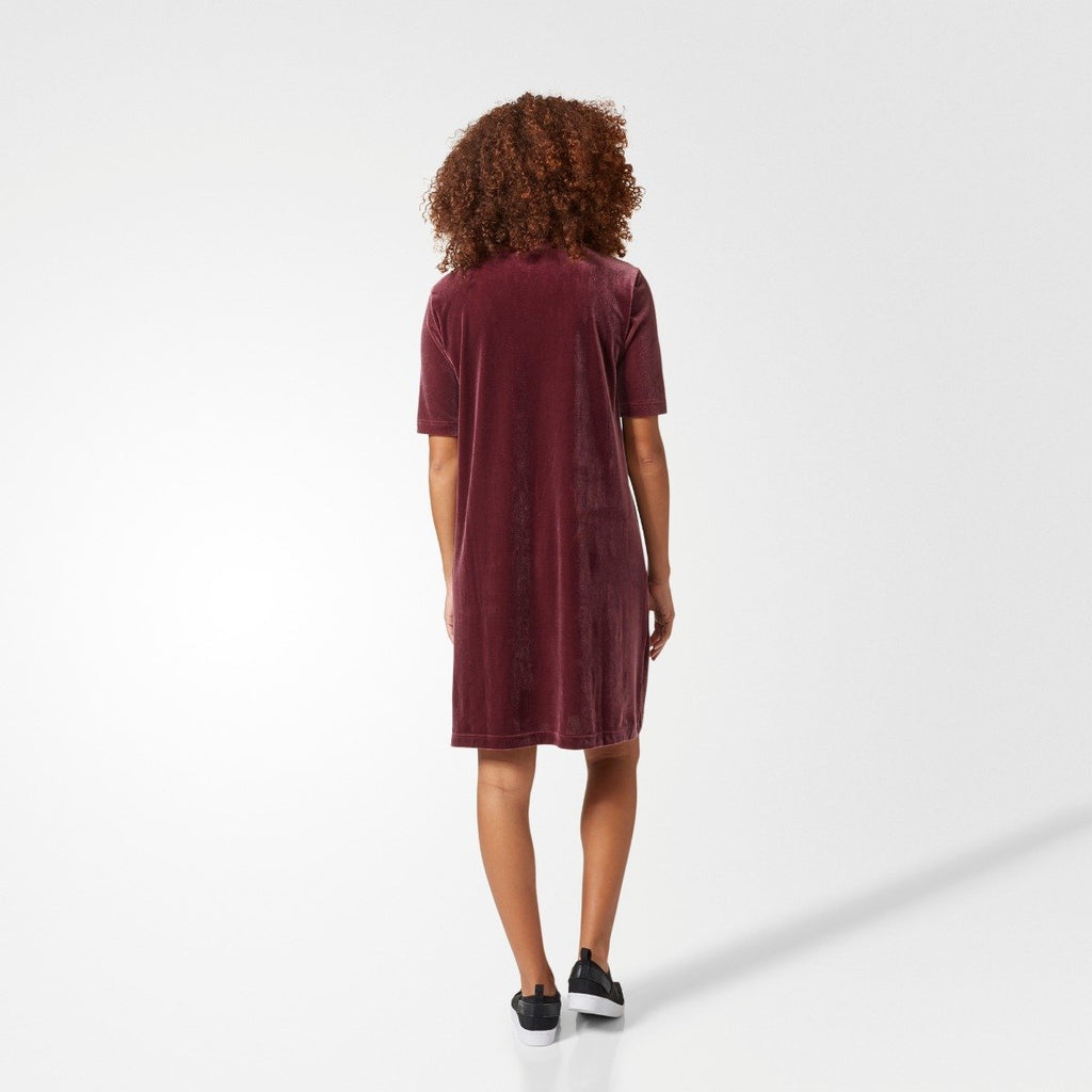 Women's adidas Originals Velvet Vibes Short Dress Maroon Red CW0280 | Chicago City Sports | rear view on model