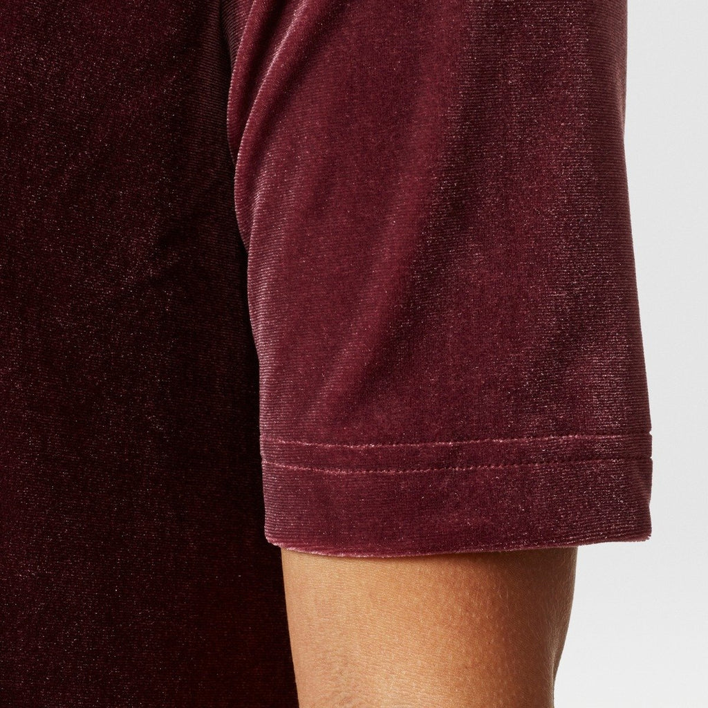 Women's adidas Originals Velvet Vibes Short Dress Maroon Red CW0280 | Chicago City Sports | short sleeve view