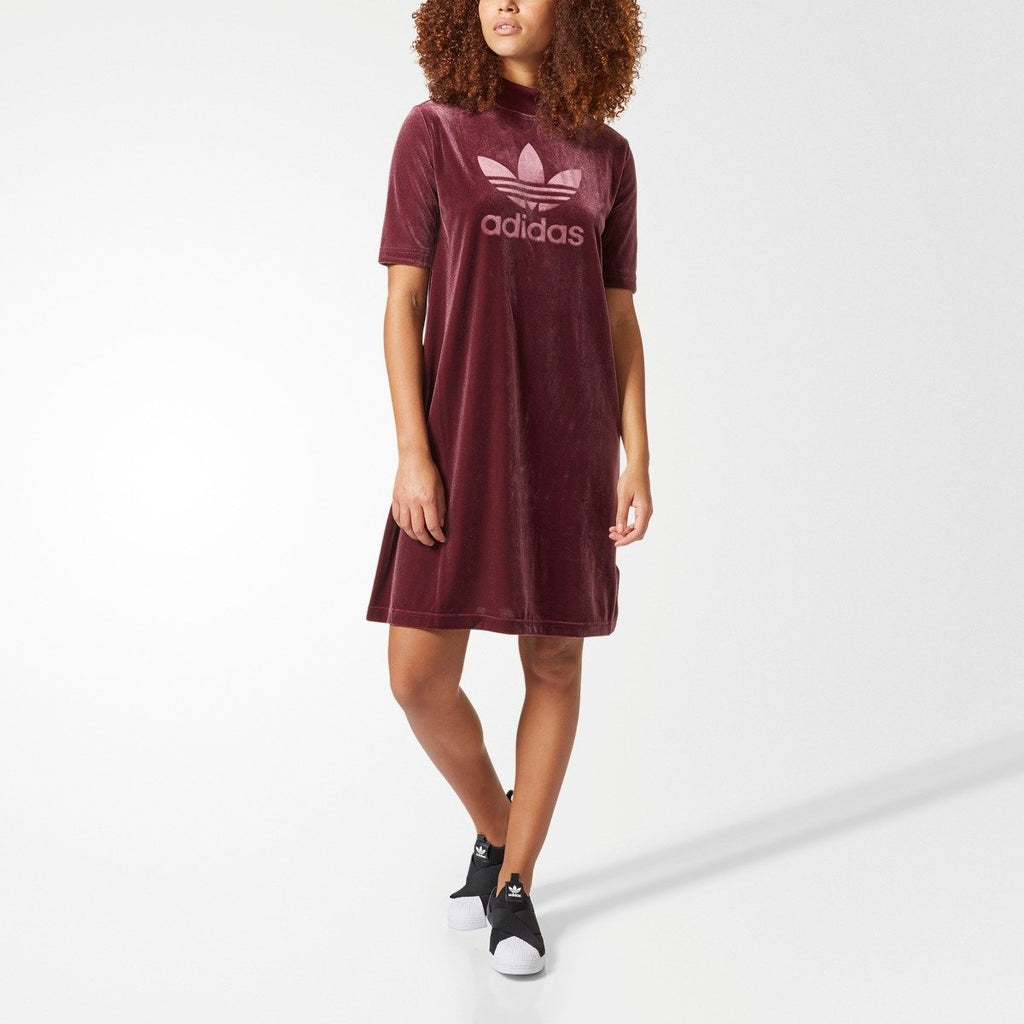 Women's adidas Originals Velvet Vibes Short Dress Maroon Red CW0280 | Chicago City Sports | front view on model
