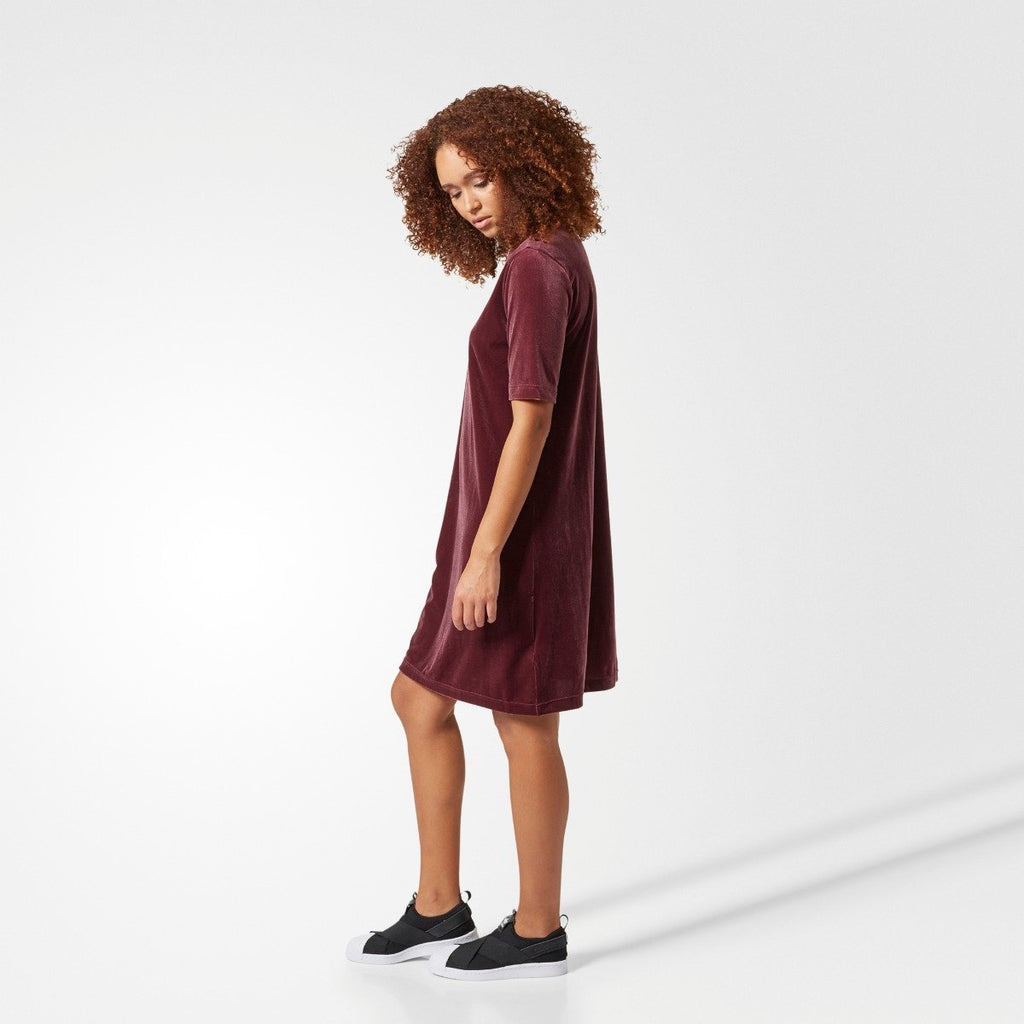 Women's adidas Originals Velvet Vibes Short Dress Maroon Red CW0280 | Chicago City Sports | side view on model