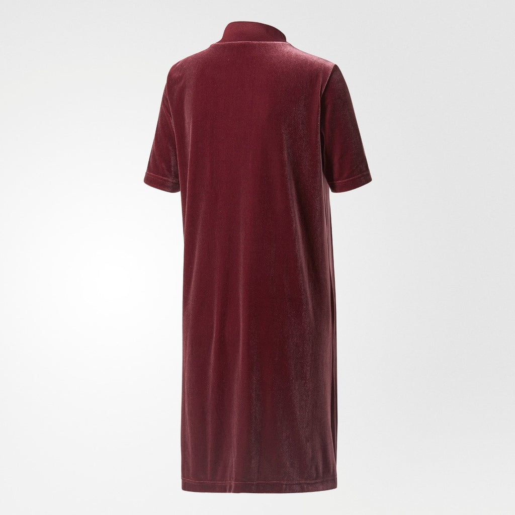 Women's adidas Originals Velvet Vibes Short Dress Maroon Red CW0280 | Chicago City Sports | rear view