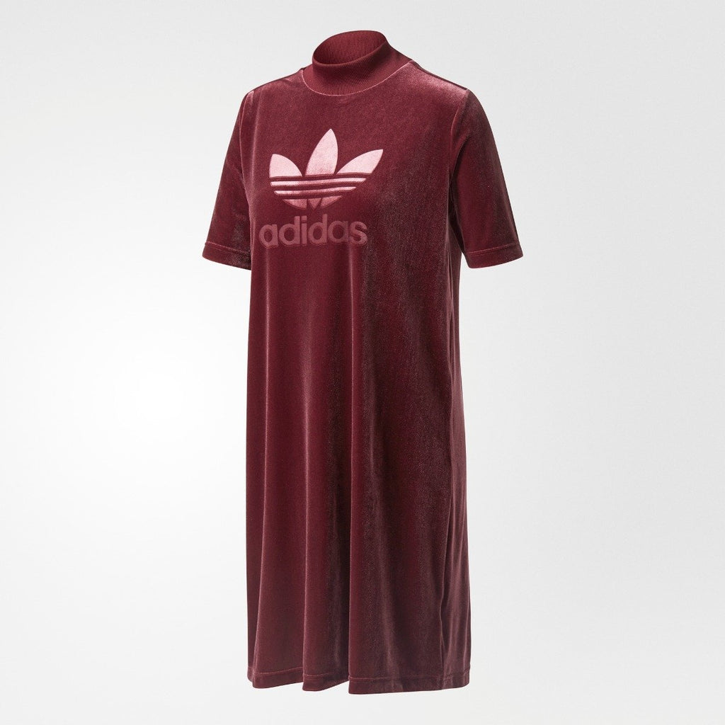 Women's adidas Originals Velvet Vibes Short Dress Maroon Red CW0280 | Chicago City Sports | front view