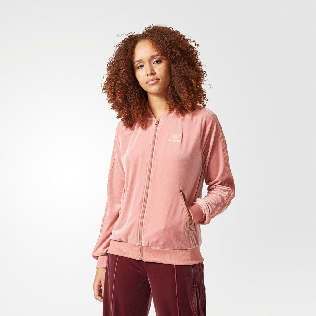Women's adidas Originals Velvet Vibes SST Track Jacket Raw Pink