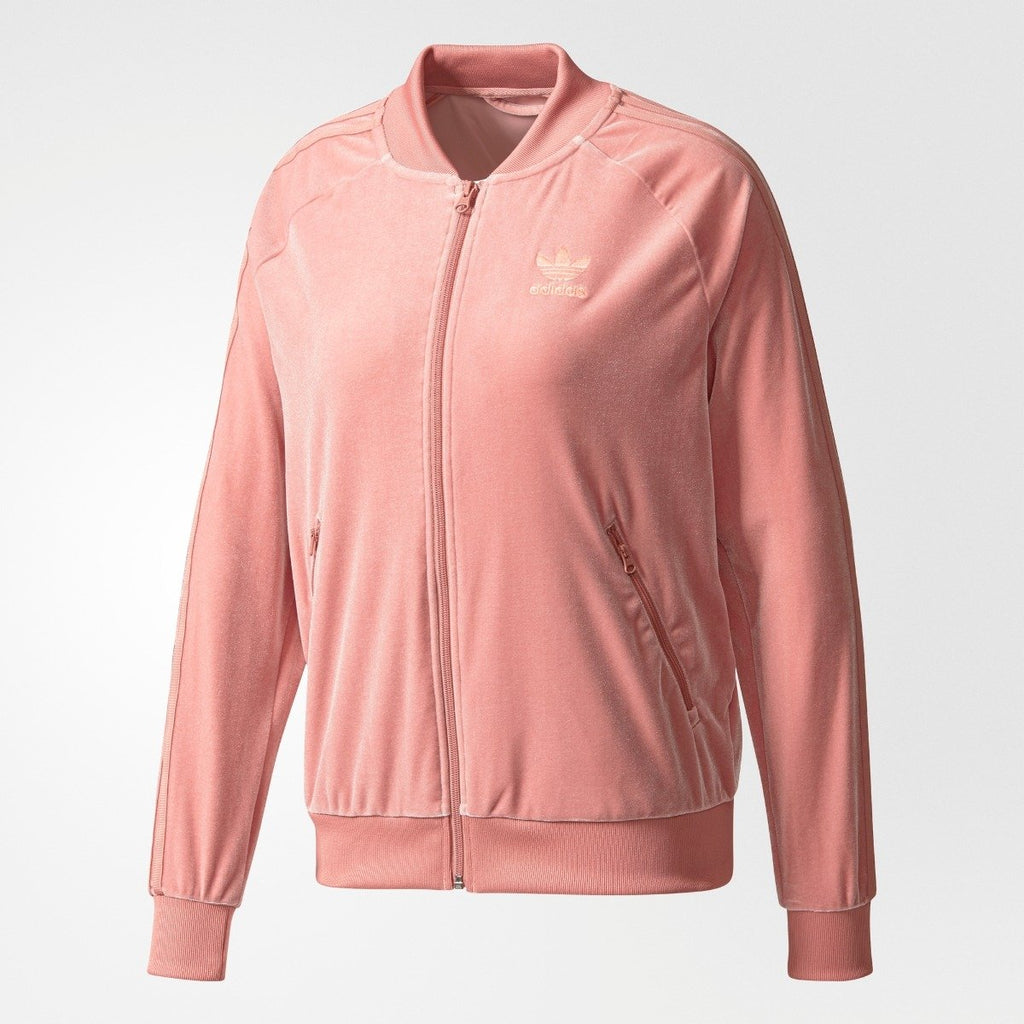 Women's adidas SST Track Velvet Jacket Raw Pink CW0273 | Chicago City Sports | front view