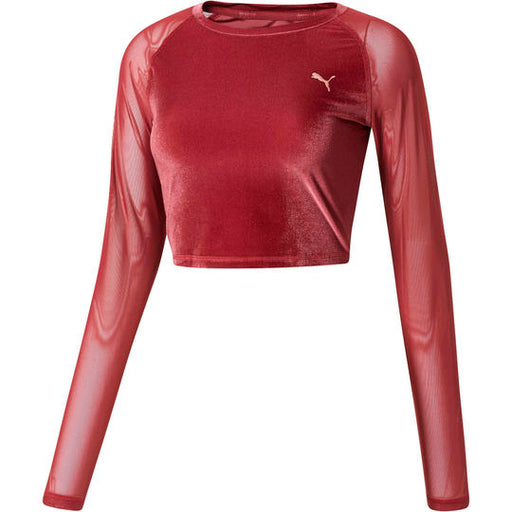 Women's PUMA Explosive Velvet Crop Top Cordovan Red