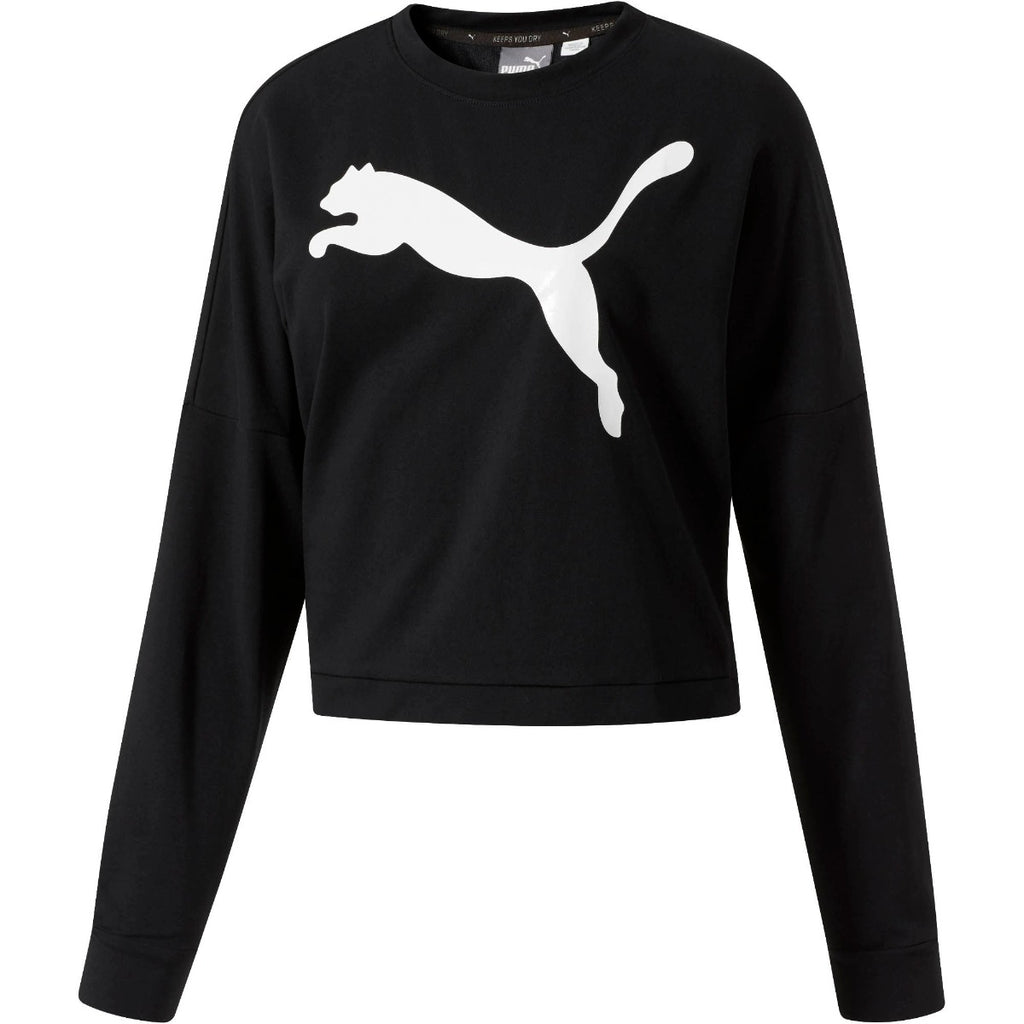 PUMA Rebel Crew Crop Sweatshirt Black 85074611 | Chicago City Sports | front view