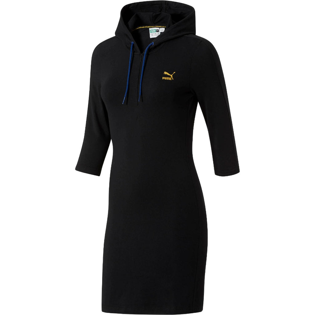 Women's PUMA T7 Hoodie Dress Black 57353651 | Chicago City Sports | front view