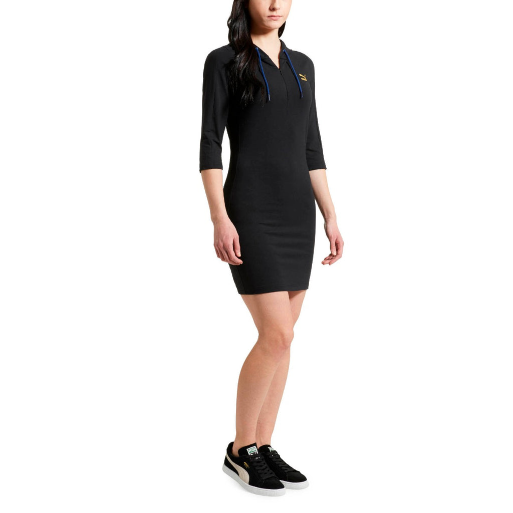 Women's PUMA T7 Hoodie Dress Black 57353651 | Chicago City Sports | front view on model