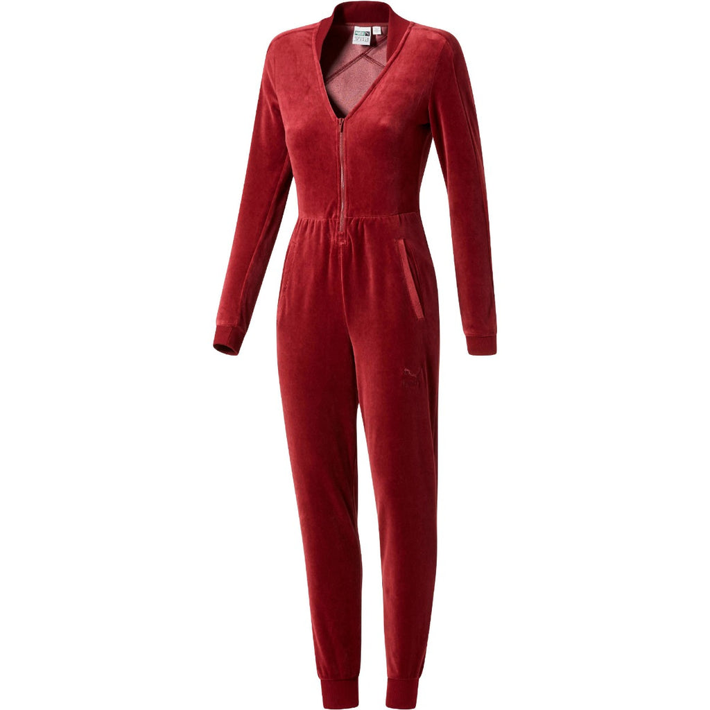Women's PUMA Velour T7 Jumpsuit Cordovan Red