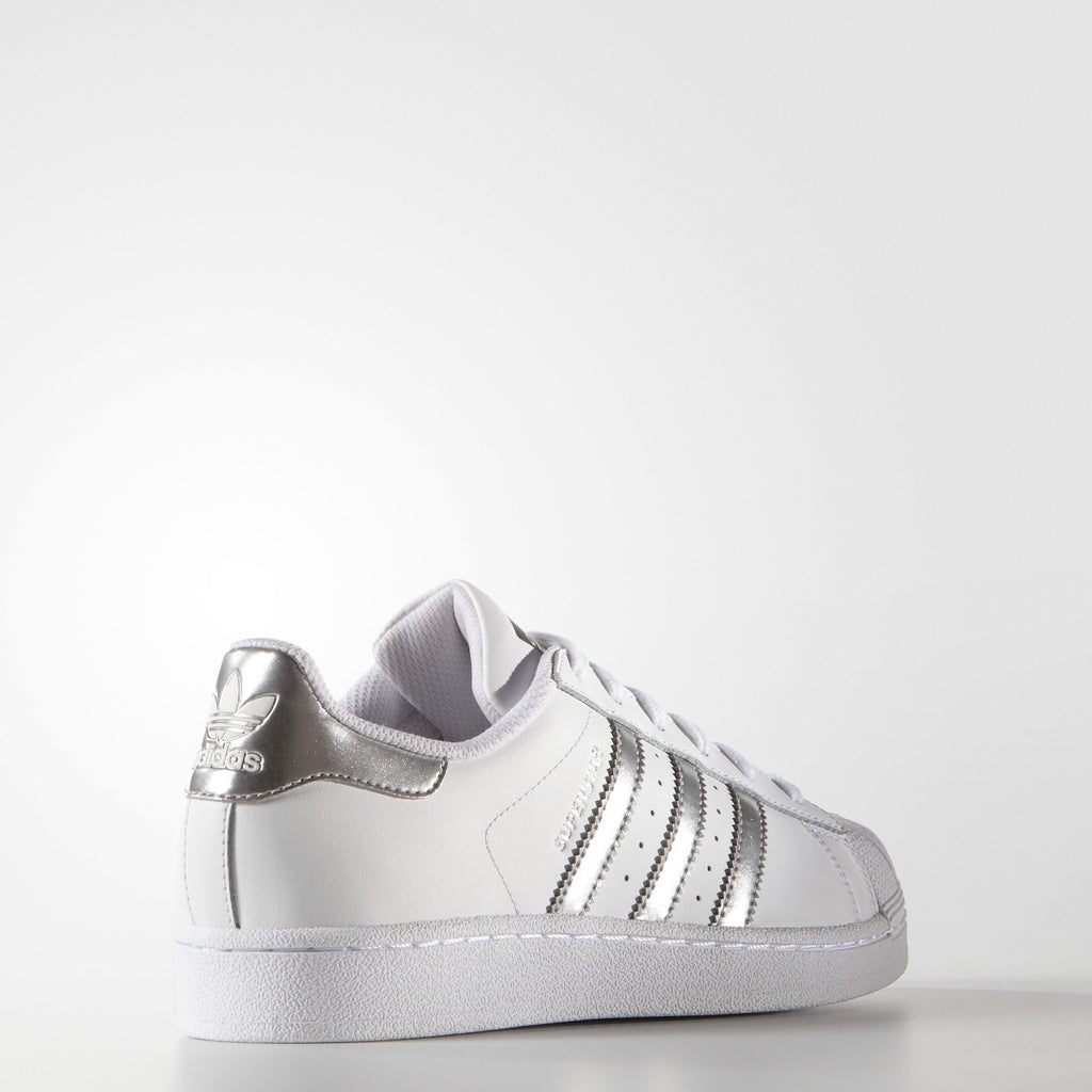Women's adidas Originals Superstar Shoes White Silver Metallic