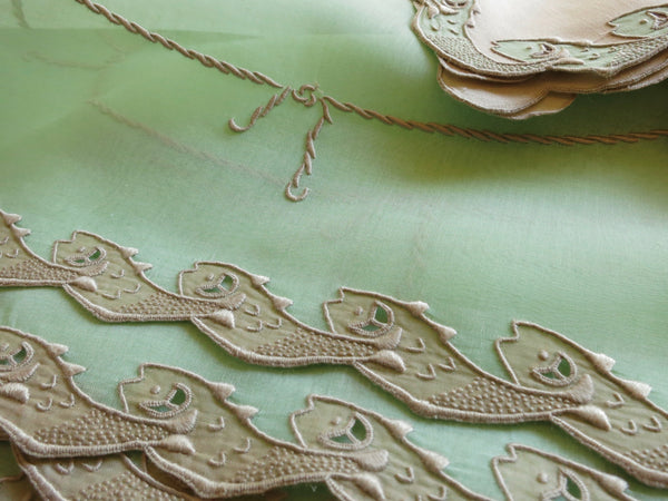 "Placemats from the ""Scroll Fish"" pattern. ~Photo by L.M. Smith."