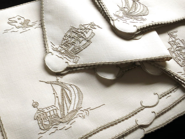"Placemat set in the ""Old Ships"" pattern, complete with sea monsters. ~Photo by L.M. Smith"