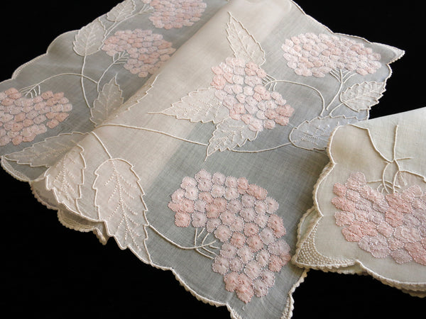 "Placemat and napkin from Marghab's ""Hydrangea"" pattern, also known as ""Hortensia"". A placemat in this pattern is in the Met's collection, donated by Vera and Emile Marghab in 1942. ~Photo by L.M. Smith."