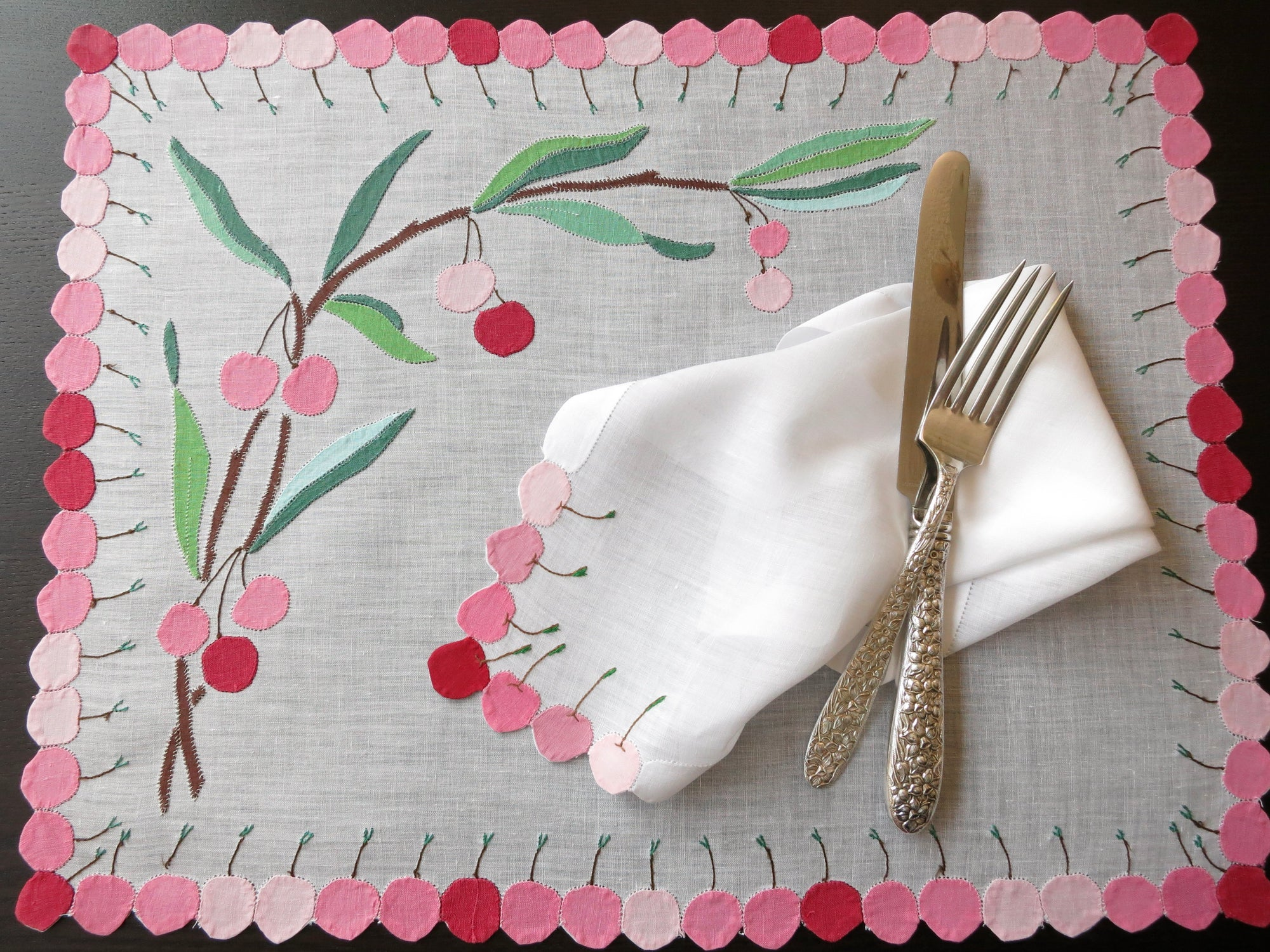 Cherries in Appliqué French Vintage Linen Placemat Setting for 8