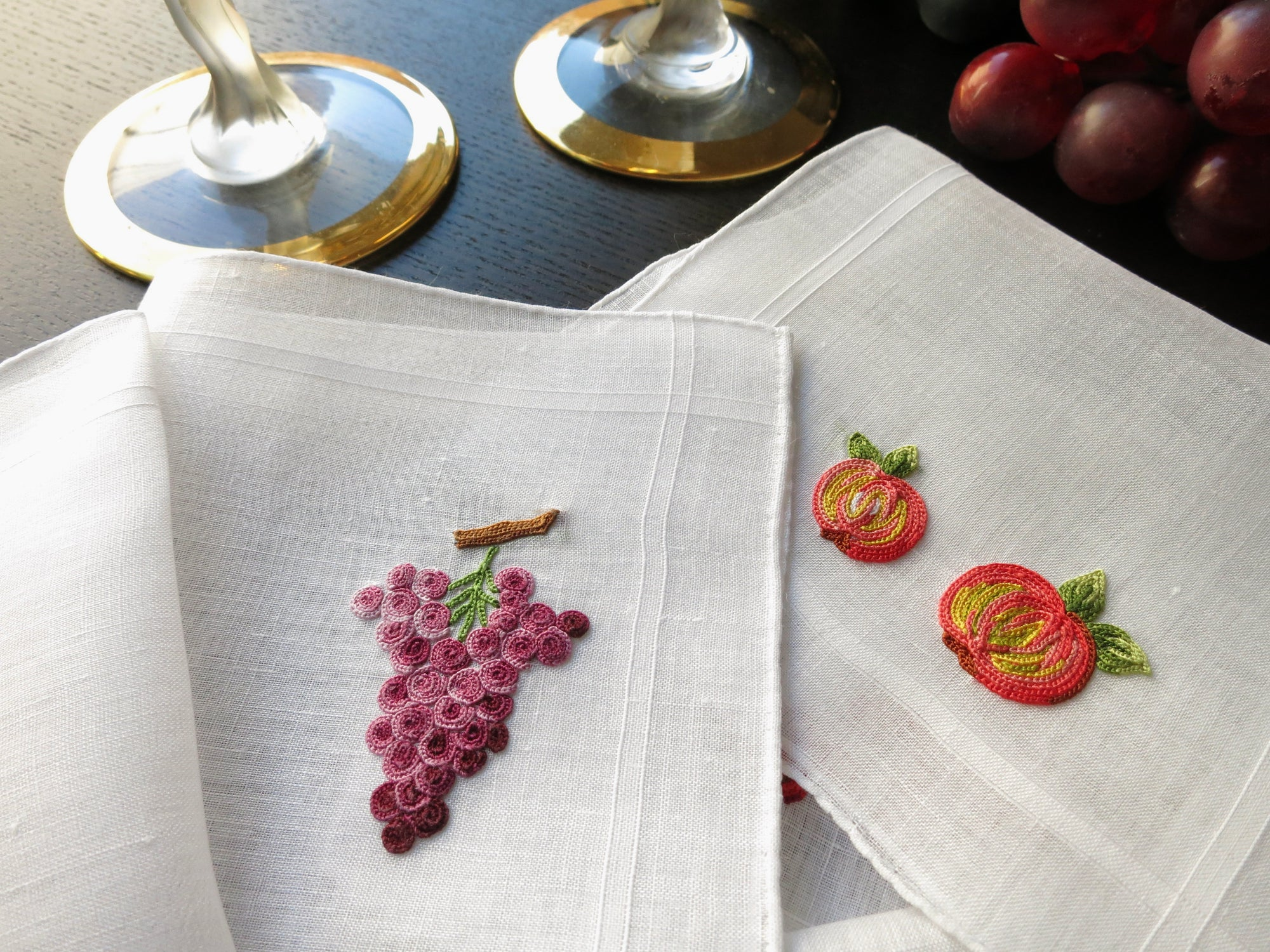 Mixed Fruits #2 Vintage French Beauvais Embroidered Cocktail Napkins - Set of 8