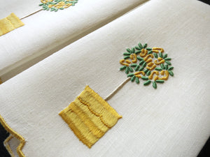Yellow Rose Tree Vintage Madeira Embroidered Fingertip Towels ~ Set of 2