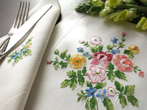 Flowers in French Beauvais Vintage D Porthault Linen Placemat Setting for 8
