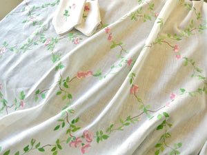 "Pink Roses Vintage Italian Hand Embroidered Linen 120"" Tablecloth & 12 Napkins"