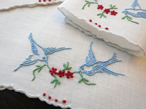 Bluebirds and Cherries Vintage Madeira Linen Cocktail Napkins - Set of 8