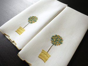 Yellow Rose Tree Vintage Madeira Hand Embroidered Guest Towels ~ Set of 2