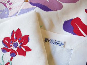 Tropical Florals D Porthault Hand Embroidered Tablecloth & 12 Napkins