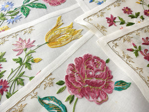 Flowers & Gold Vintage D Porthault Beauvais Embroidery Placemat Setting for 12