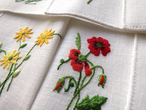 Garden Flowers Vintage Italian Embroidery Linen Cocktail Napkins - Set of 12