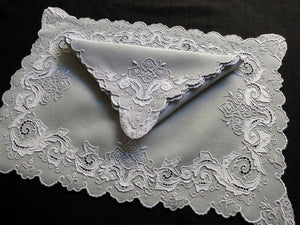 Vintage Madeira Hand Embroidery Linen Placemat Set - Setting for 12