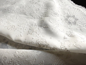 Classical Rome Antique Appenzell Embroidery Round Linen Tablecloth 36""