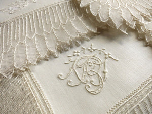 Exquisite Antique Net Lace & Linen Napkins Embroidered Monogram - Set of 6