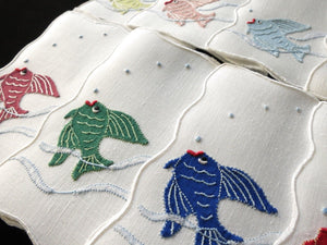 Fish with Red Lips, Vintage Madeira Embroidery Linen Cocktail Napkins - Set of 8