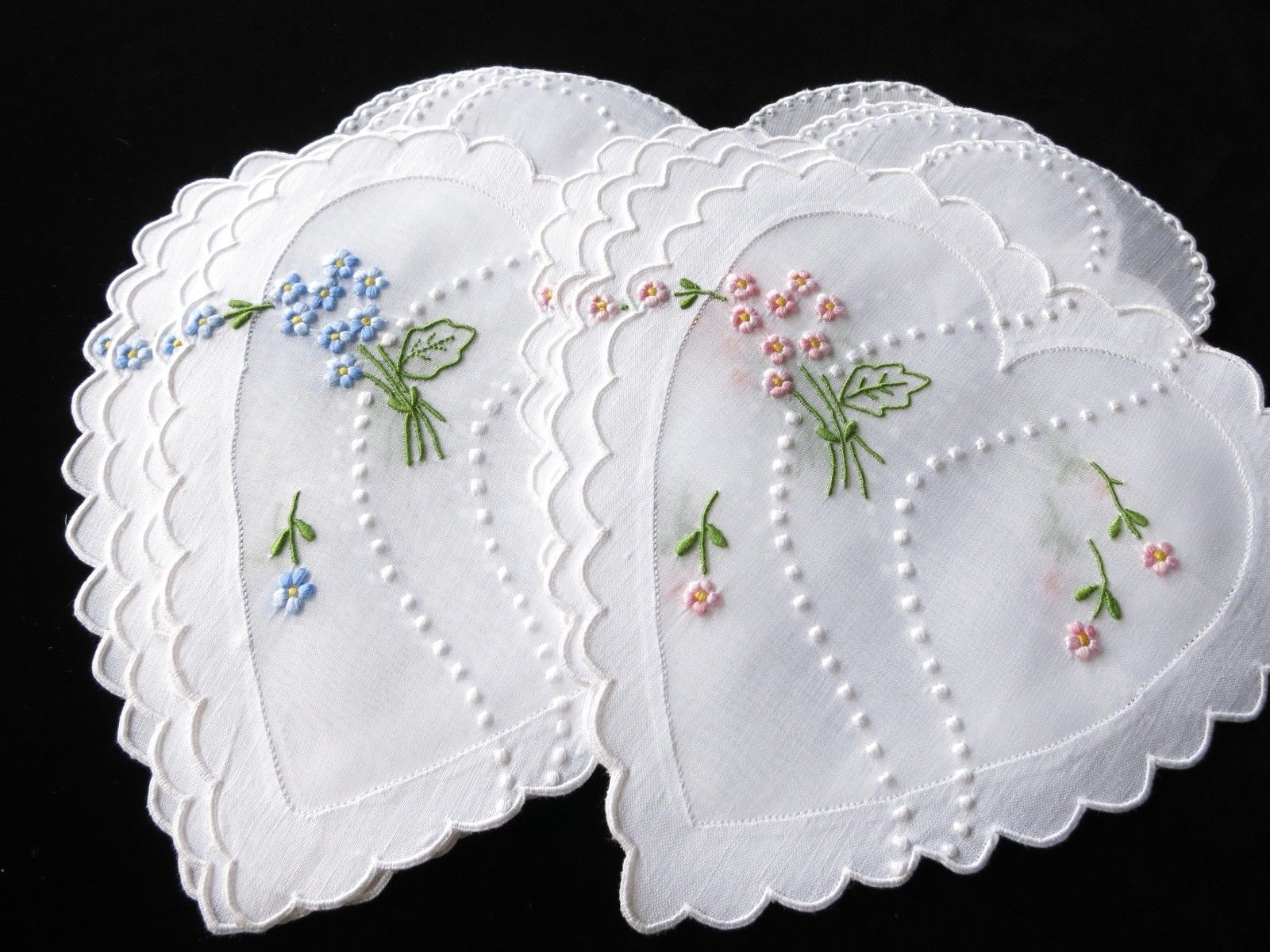 Hearts & Flowers Vintage Cocktail Napkins Madeira Hand Embroidery - Set of 8