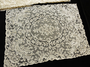 Exotic Birds & Flowers Antique French Alencon Lace Placemats - Set of 8