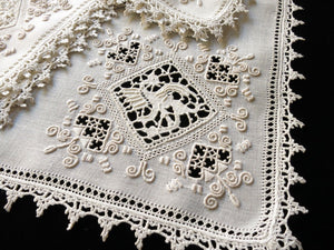 Dragons, Deer & Peacocks: Antique Italian Lace Linen Napkins - Set of 12