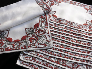 Griffins Antique Italian Hand Embroidery 13pc Placemat Runner Set ~Setting for 12