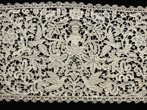 Antique Table Runner in Point Venise Lace: Figures, Birds & Animals 10x108""