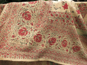 Antique 19th Century India Block Print Cotton Textile Wall Hanging 46x105""