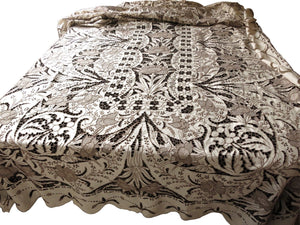 Antique Madeira Hand Embroidery Dense Cutwork Linen Tablecloth 64X120
