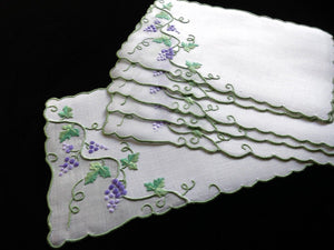 Grapes & Vines Vintage Madeira Hand Embroidery Linen Cocktail Napkins - Set of 6