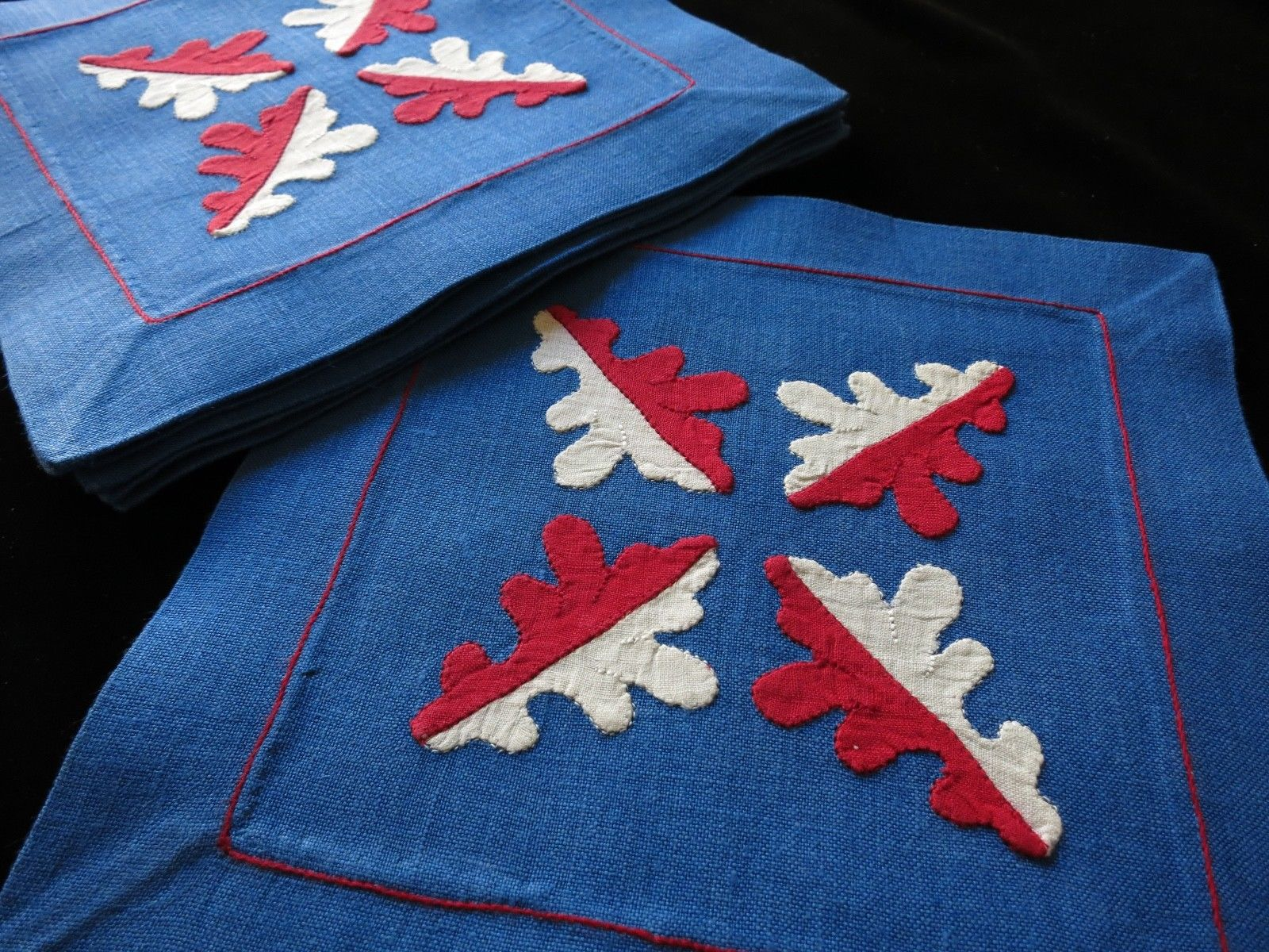 Oak Leaves Vintage Madeira Embroidery Linen Cocktail Napkins - Set of 8