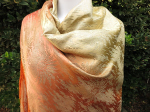 Ombre Antique Art Deco c1920 French Silk & Lamé Shawl Fringed