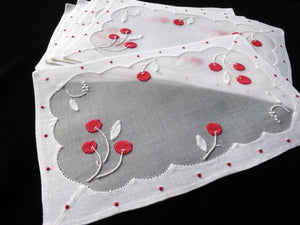 LUSH RED CHERRIES Vintage Madeira Hand Embroidery 6 Cocktail Napkins UNUSED