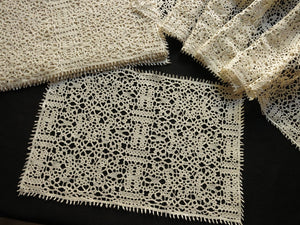 Striking & Lovely Antique Handmade Lace Placemats - Set of 12, plus Runner