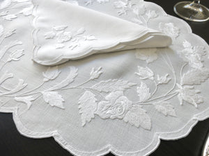 3-D Roses in Whitework Vintage Madeira Linen 24pc Placemat Setting for 12