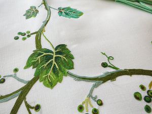 "Vining Leaves Vintage D Porthault Beauvais Embroidery 72"" Round Tablecloth & Napkins"