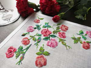 Roses in French Beauvais Vintage D Porthault Linen Placemat Setting for 8