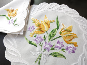 Colorful Flowers Vintage French D Porthault 24pc Linen Placemat Setting for 12