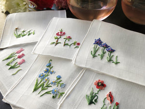 Dainty Flowers Vintage French Beauvais Embroidered Cocktail Napkins - Set of 6
