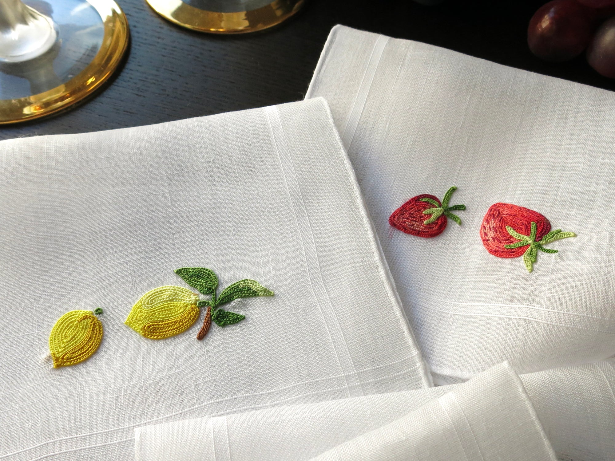 Mixed Fruits #1 Vintage French Beauvais Embroidered Cocktail Napkins - Set of 8