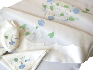 Morning Glory Vintage Madeira Organdy Oval Tablecloth & 12 Napkins